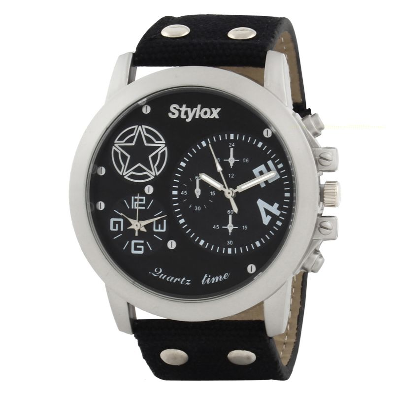 Buy Stylox Black Analog Watch - For Men online