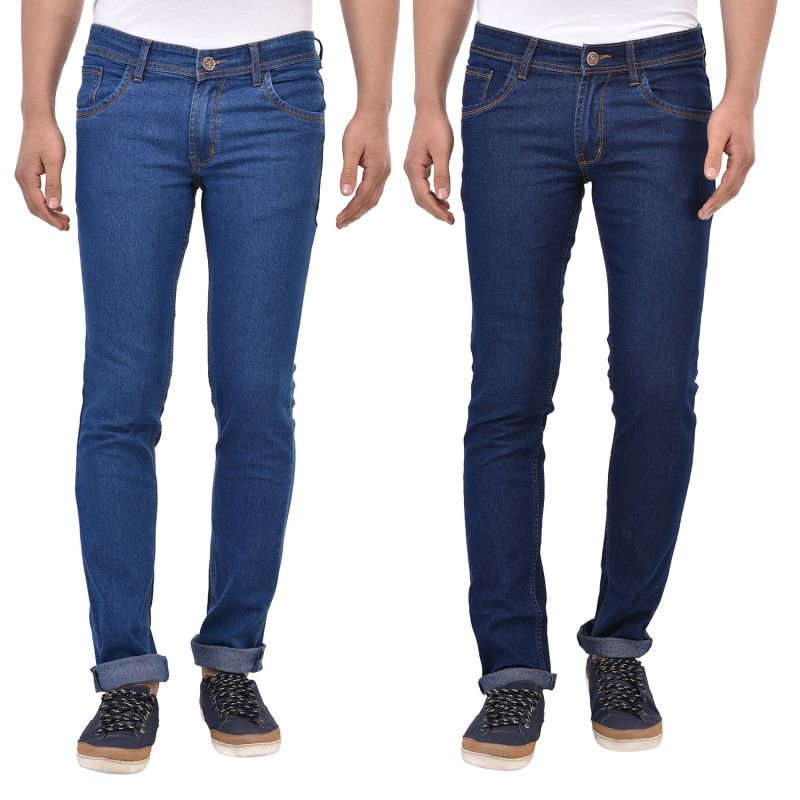 Buy Stylox Pack Of 2 Cotton Slim Fit Jeans For Men online