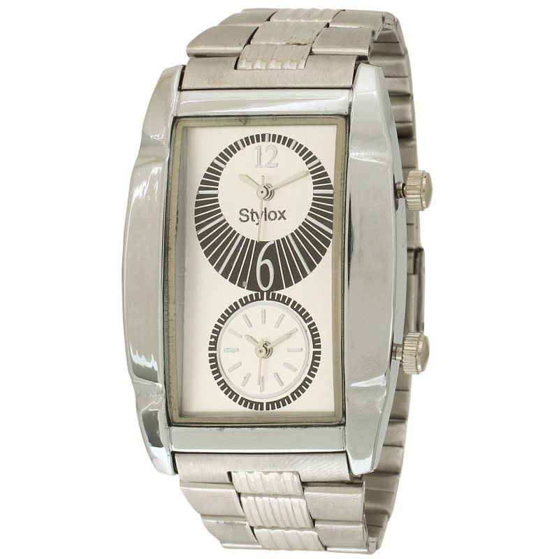 Buy Stylox White Dial Chain Square Analog Watch - For Men online