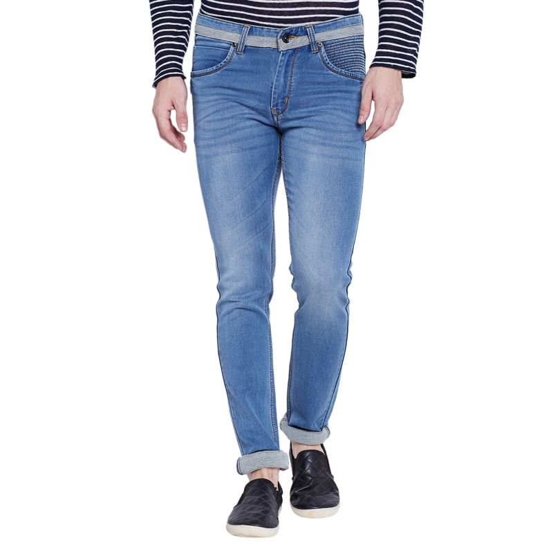 Buy Stylox Men's Premium Light Blue Mid Rise Cleans Look Stretchable Jeans online
