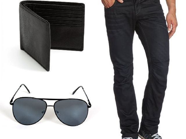 Buy Stylox Black Denim With Sunglass And Wallet online