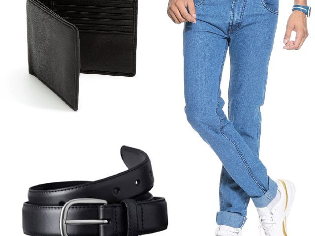 Buy Stylox Light Blue Denim With Belt And Wallet online