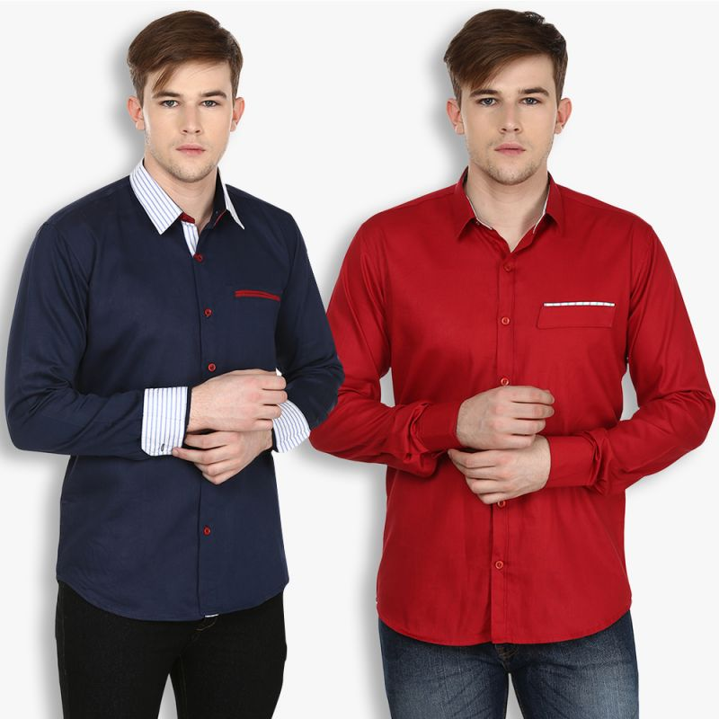 Buy Stylox Mens Cotton Maroon-navy Blue Casual Shirt (pack Of 2) (code - Sht-2cmbo-024-27) online