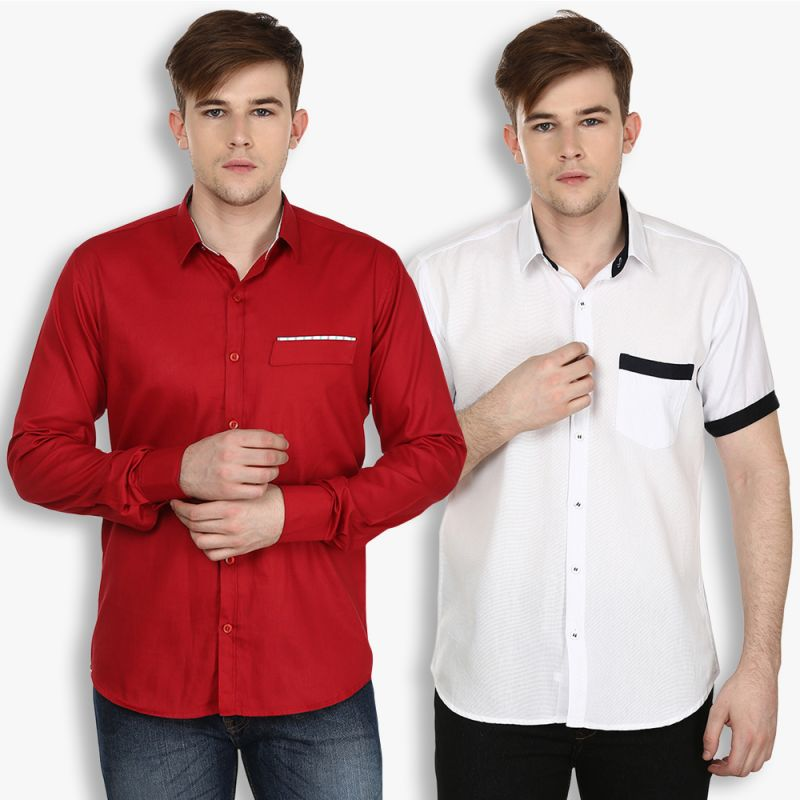 Buy Stylox Mens Cotton Maroon-white Casual Shirt (pack Of 2) (code - Sht-2cmbo-024-33) online