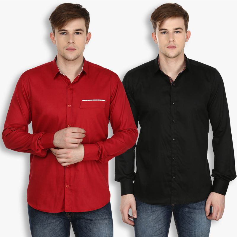 Buy Stylox Mens Cotton Maroon-black Casual Shirt (pack Of 2) (code - Sht-2cmbo-024-38) online