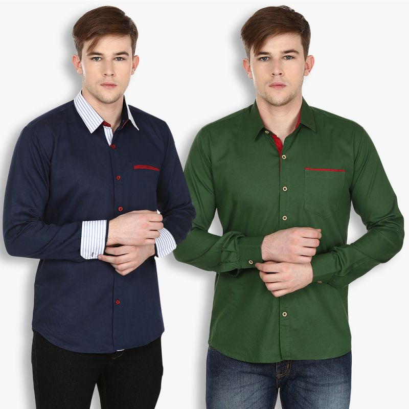 Buy Stylox Mens Cotton Olive Green-navy Blue Casual Shirt (pack Of 2) (code - Sht-2cmbo-025-27) online