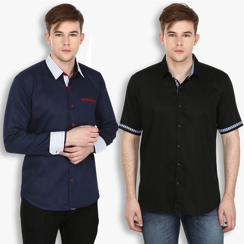 Buy Stylox Mens Cotton Navy Blue-black Casual Shirt (pack Of 2) (code - Sht-2cmbo-027-34) online