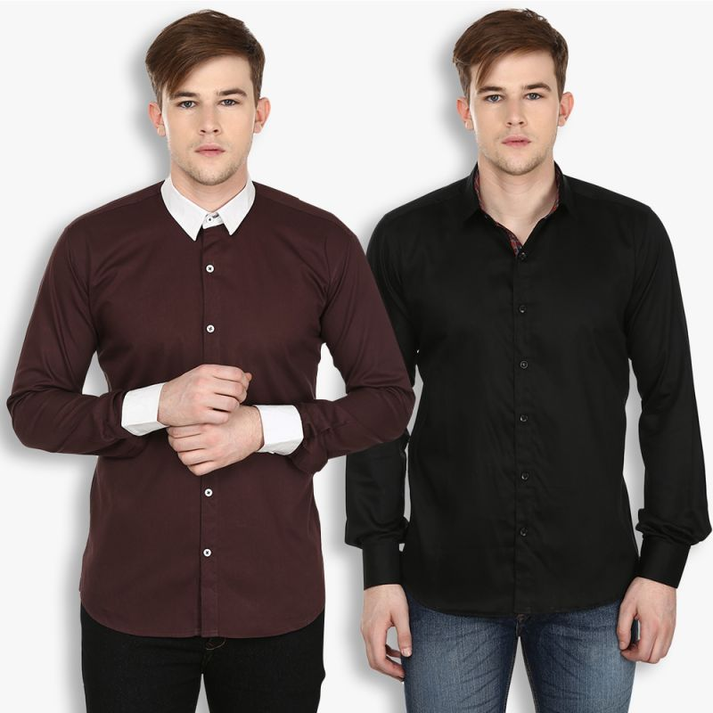 Buy Stylox Mens Cotton Black-brown Casual Shirt (pack Of 2) (code - Sht-2cmbo-029-38) online