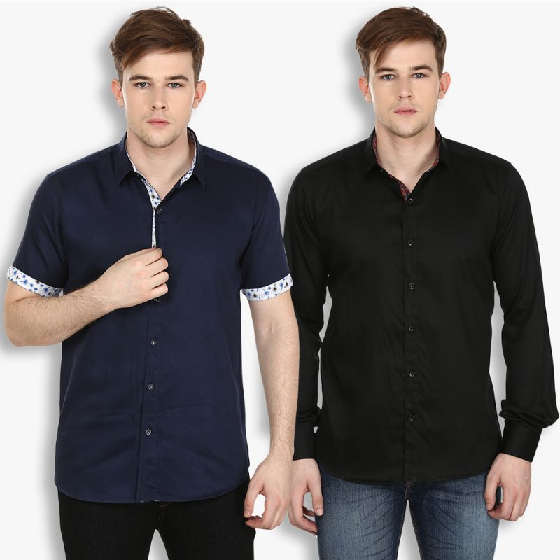 Buy Stylox Mens Cotton Navy Blue-black Casual Shirt (pack Of 2) (code - Sht-2cmbo-031-38) online