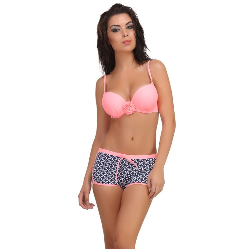 Buy Clovia 2 Piece Polyamide Swimsuit Of Padded Bra & Printed Hipster In Pink -(product Code- Sm0026p22) online