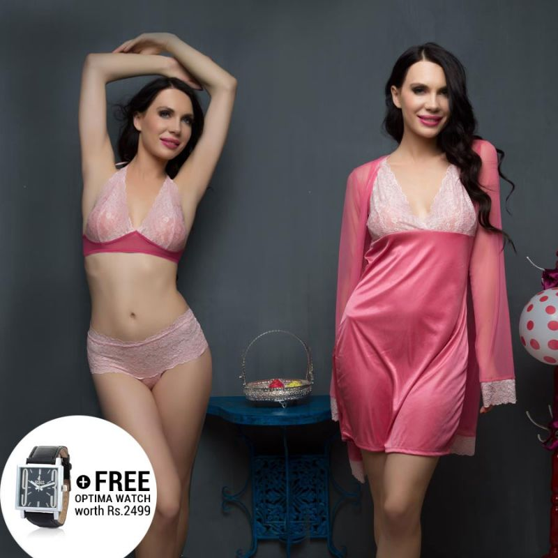 Buy 4 PCs Mayfair Lady Nightwear Set In Pink With Watch online