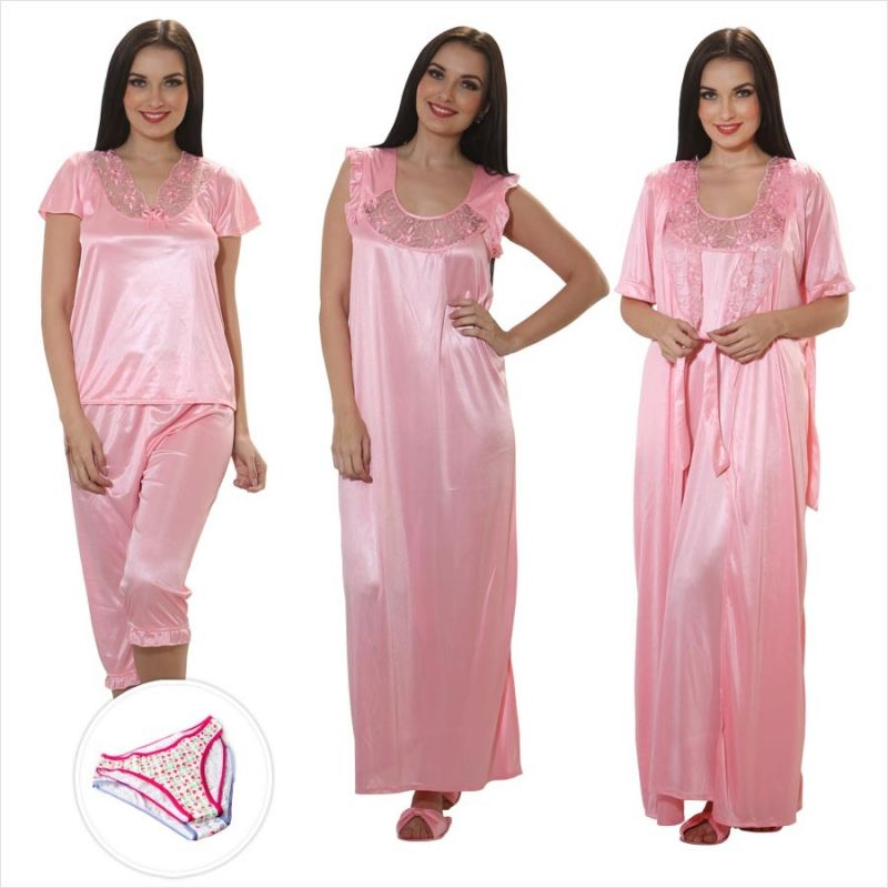 1a79cf36ae Buy Clovia 4 PCs Satin Nightwear In Baby Pink With Free Brief Online ...