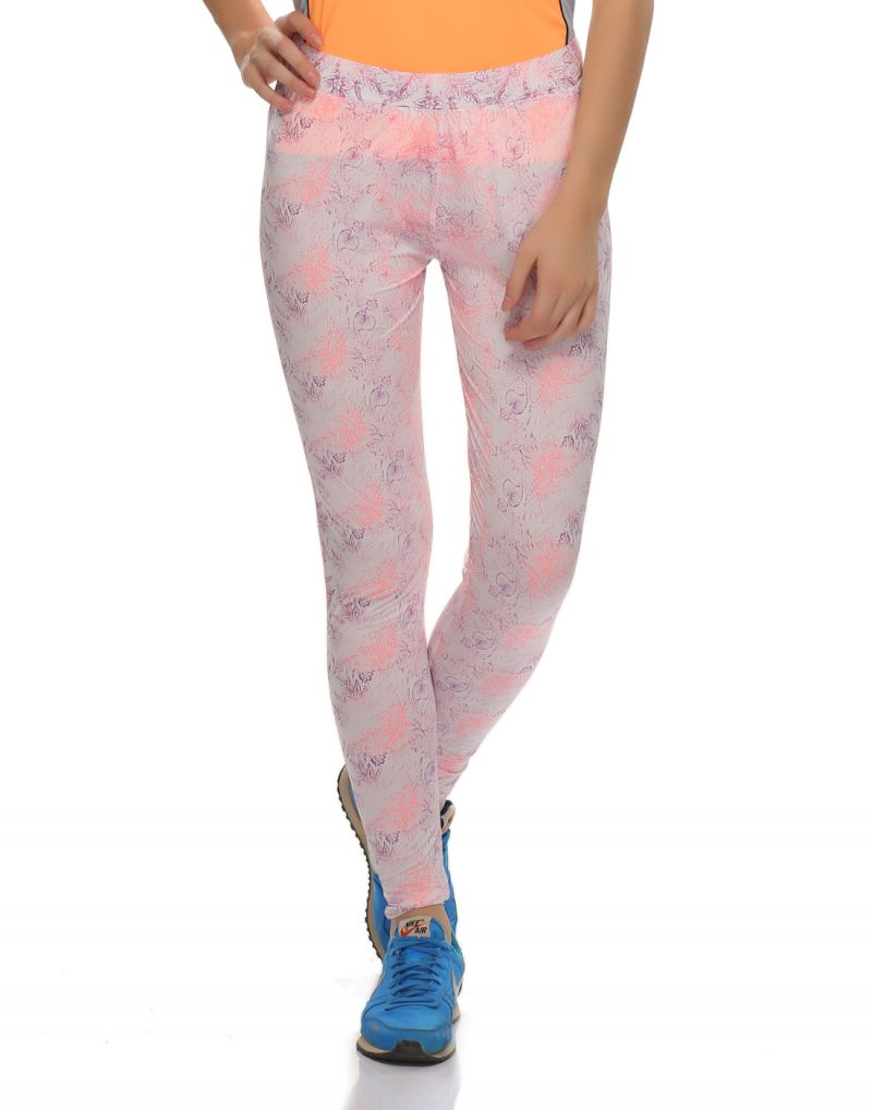 Buy Clovia Polyamide, Spandex Stretchy High Rise Tights In Floral Prints online