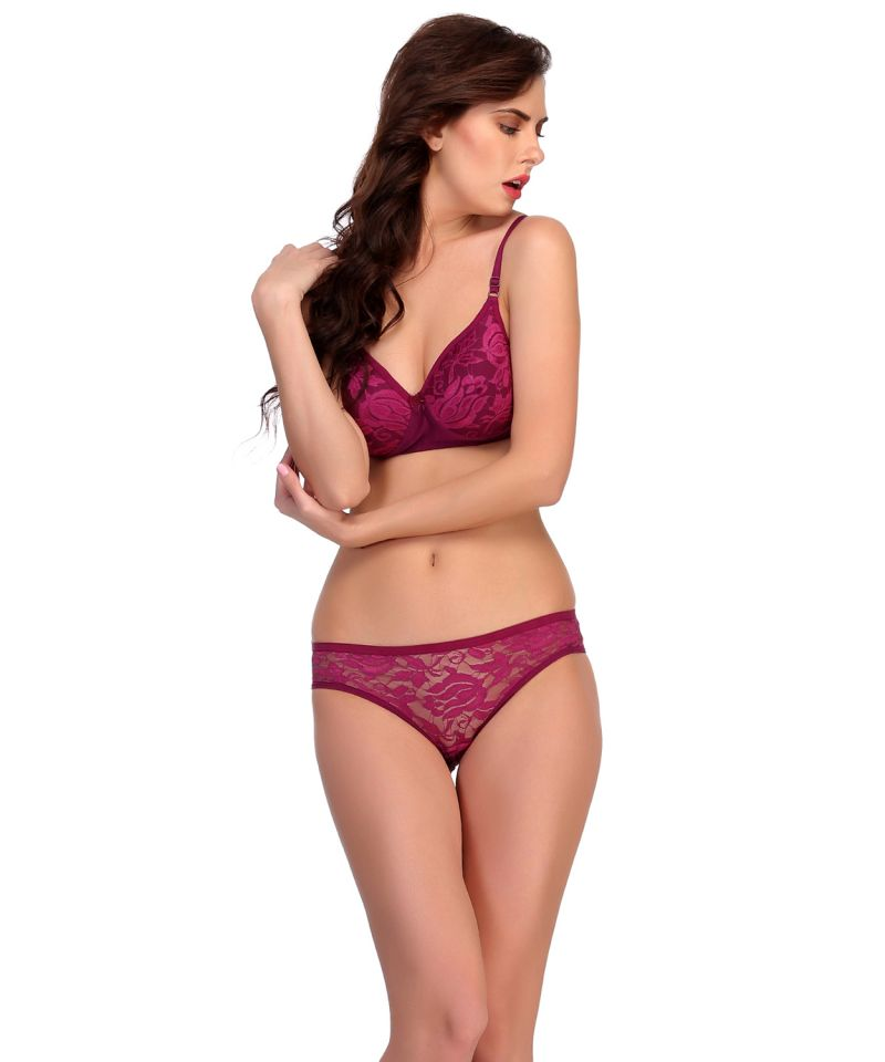 Buy Clovia Bra And Panty Set In Dark Purple online