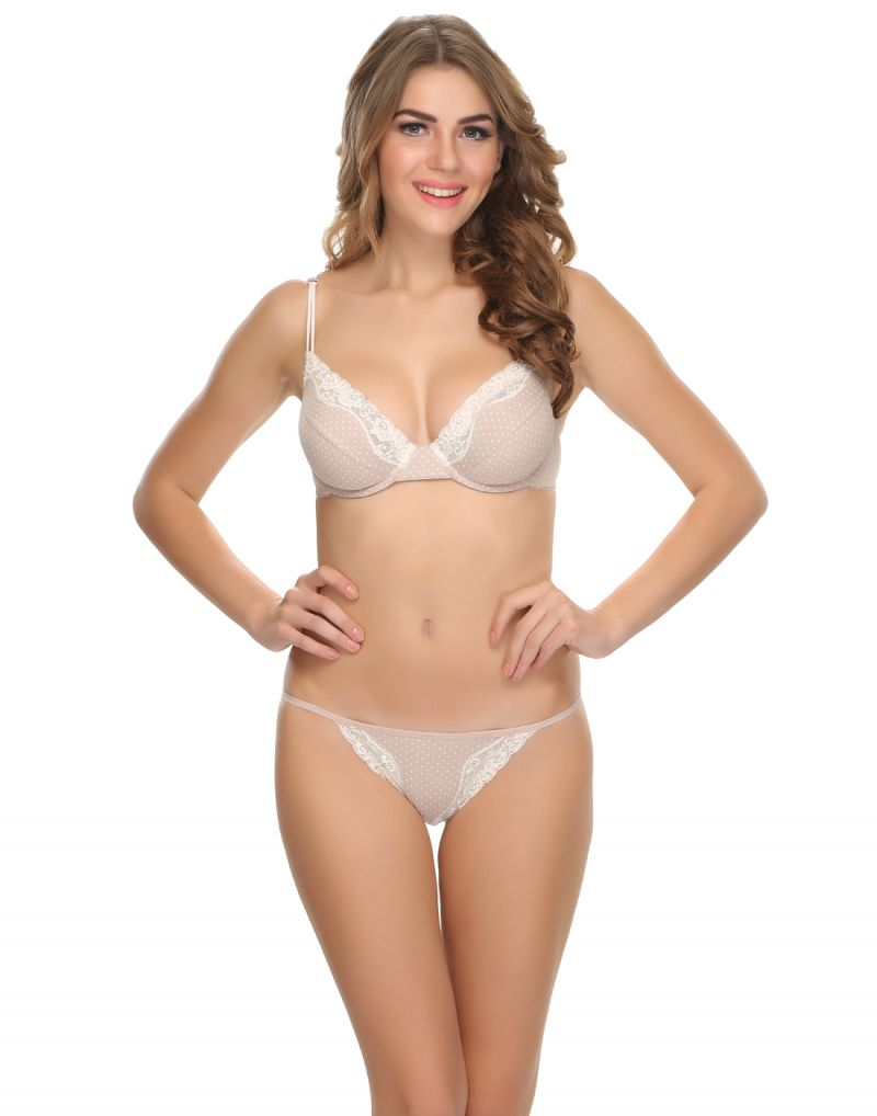 Buy Clovia Cotton Lycra Sexy Lacy Bra Brief Set In Cute Polkas (product Code - Bp0398p24 ) online