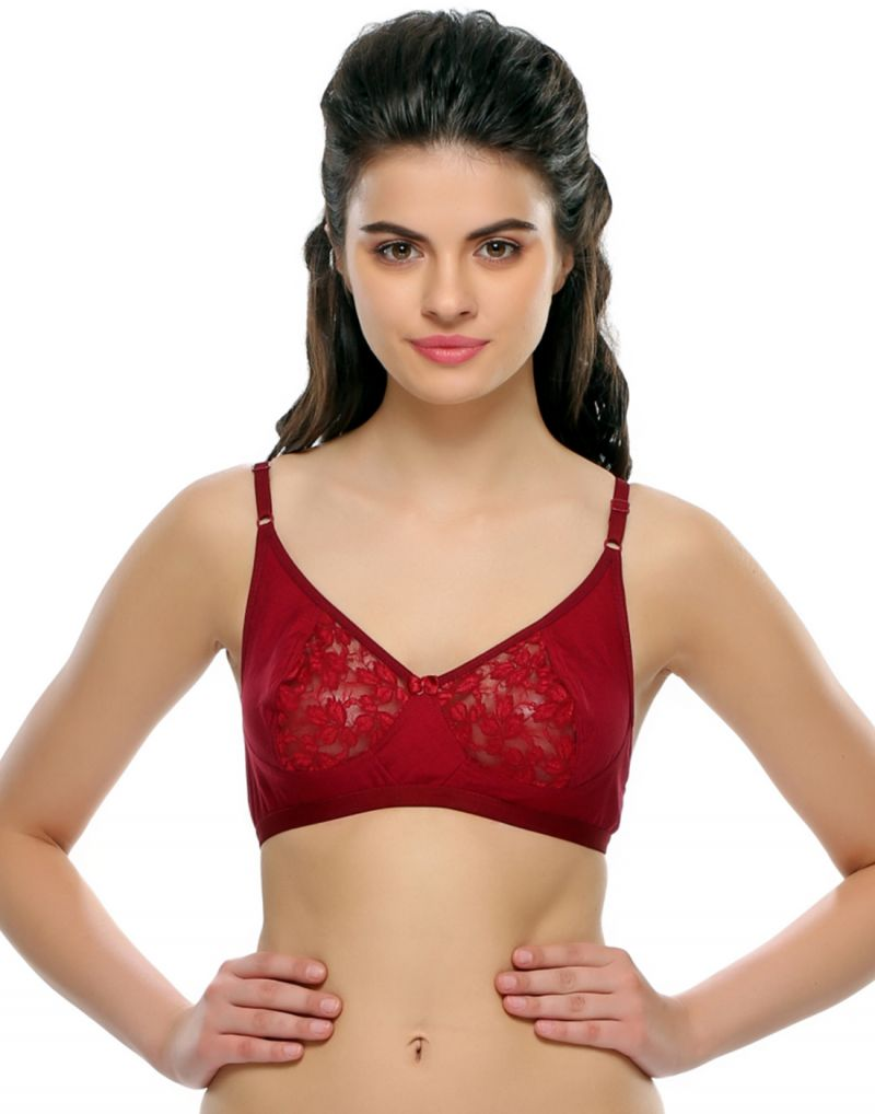 Buy Clovia Cotton Rich Non-Padded Bra With Lace In Wine Color online