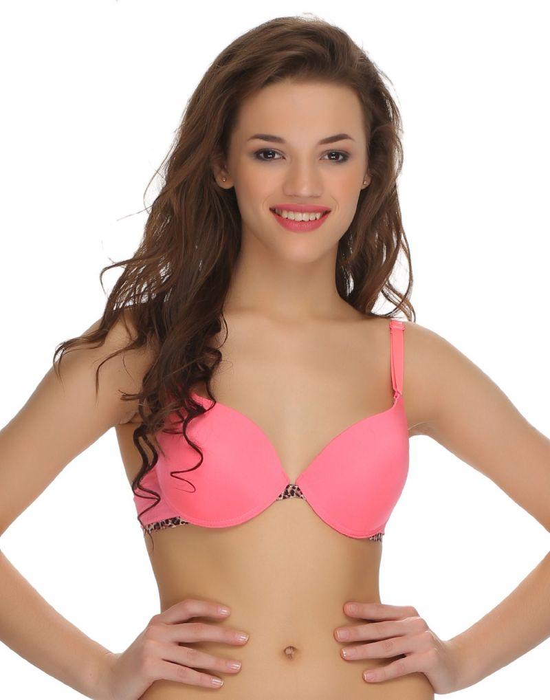 Buy Clovia Sexy Push-up Animal Print Bra In Pink Br0408p22 online