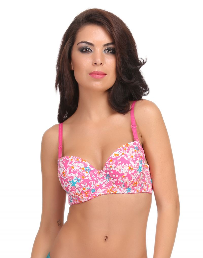 Buy Clovia Push-up Balconette Bra In Pink With Detachable Straps - (product Code - Br0552p22) online