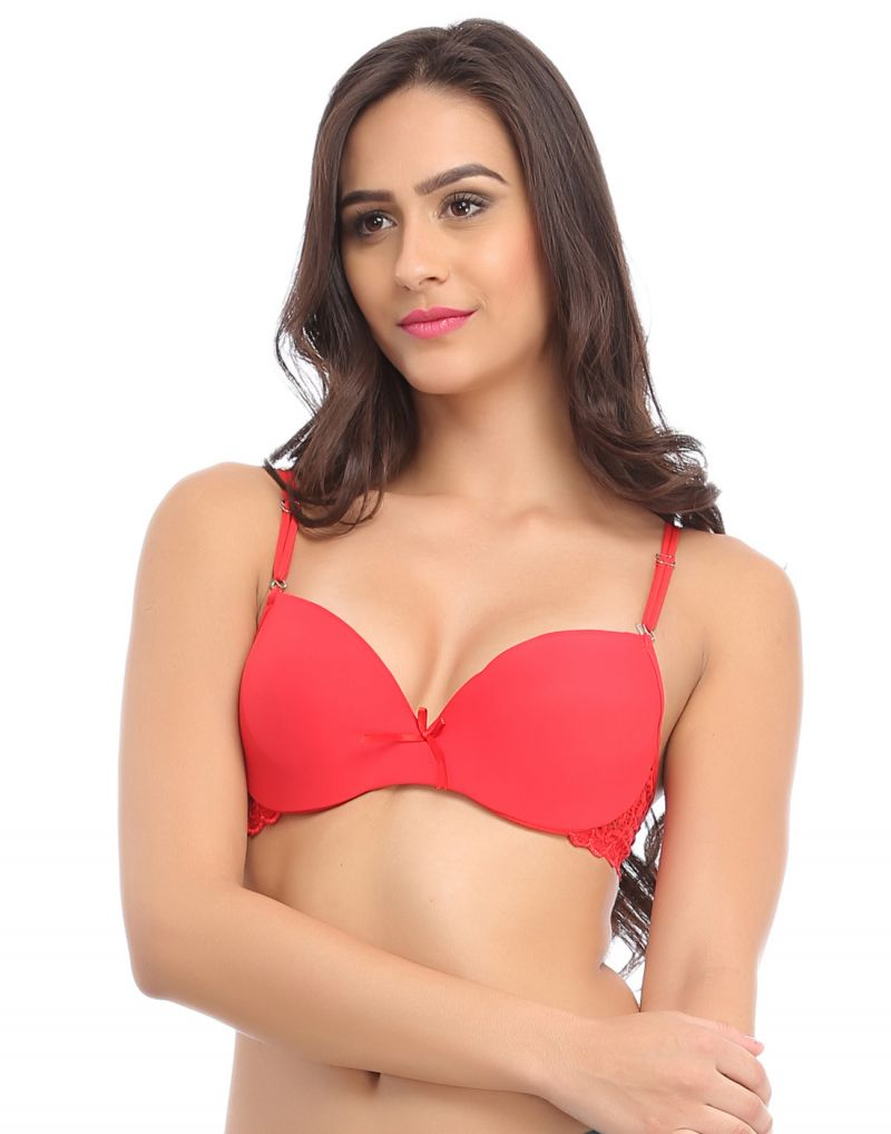 Buy Clovia Red Push Up Balconette Bra With Detachable Straps -(product Code-br0608p04) online
