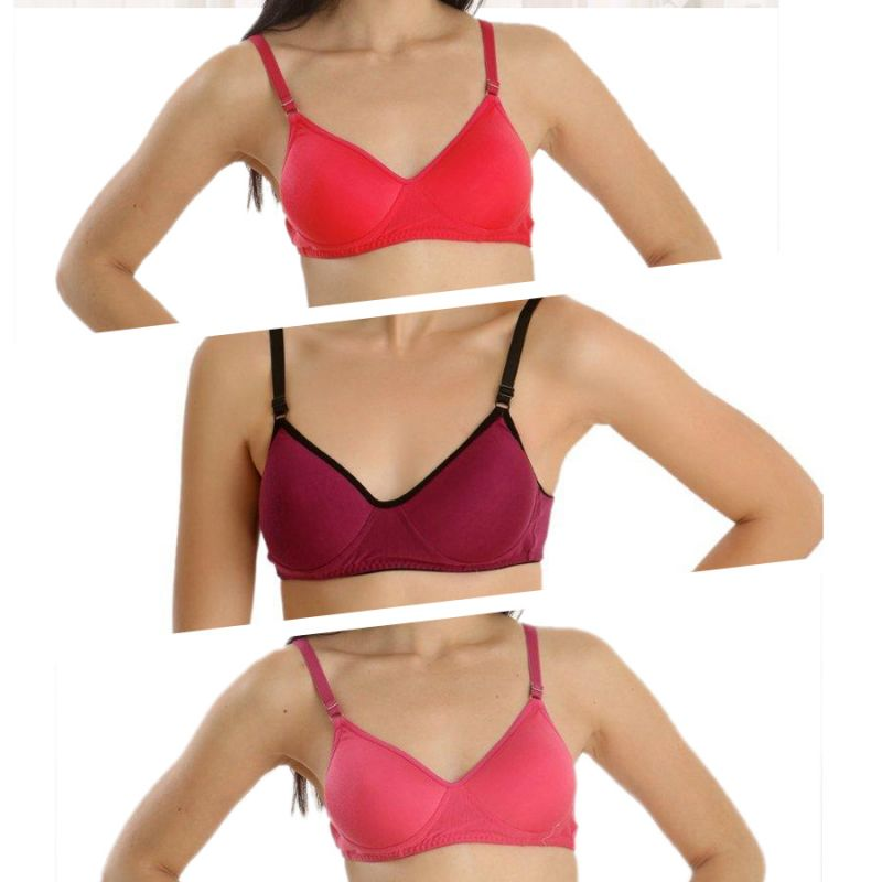 Buy Set Of 3 Padded Bra In Pink , Red And Purple online
