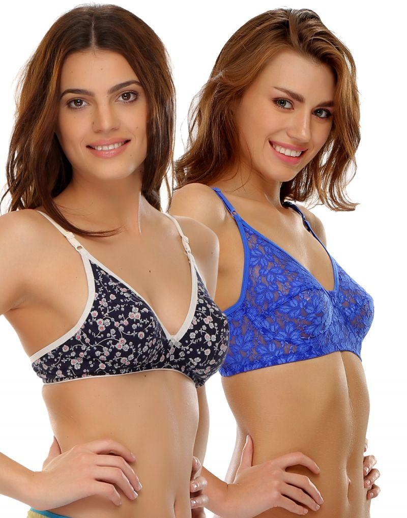 Buy Clovia 100% Blended Multicolor Pack Of 2 Bras online