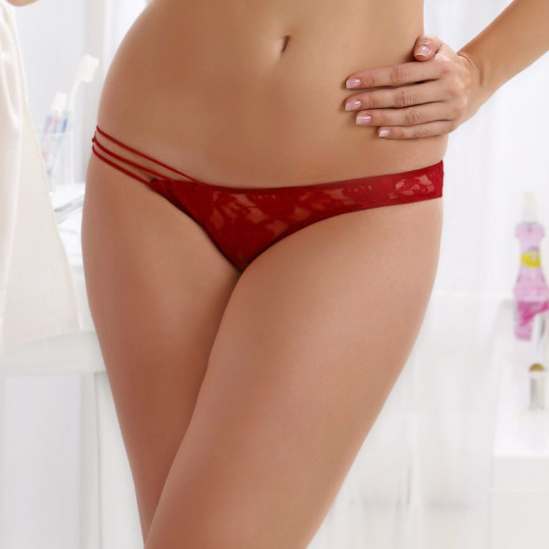 Buy Cloe Sheer Lacy Brief In Maroon online
