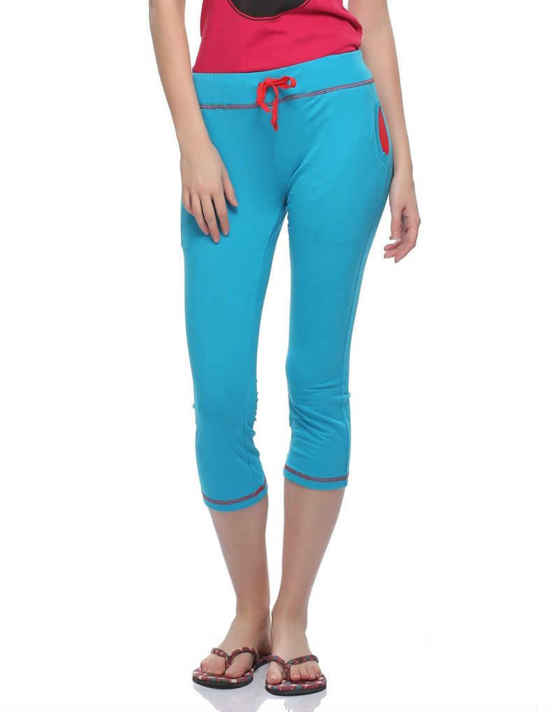 Buy Clovia Soft Cotton Capri In Blue Lb0018p03 online