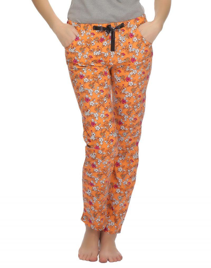 Buy Clovia Floral Printed Comfy Pyjama In Orange Lb0020p16 online