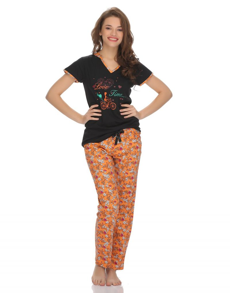 Buy Clovia Cotton T-Shirt And Pyjama Set In Orange online