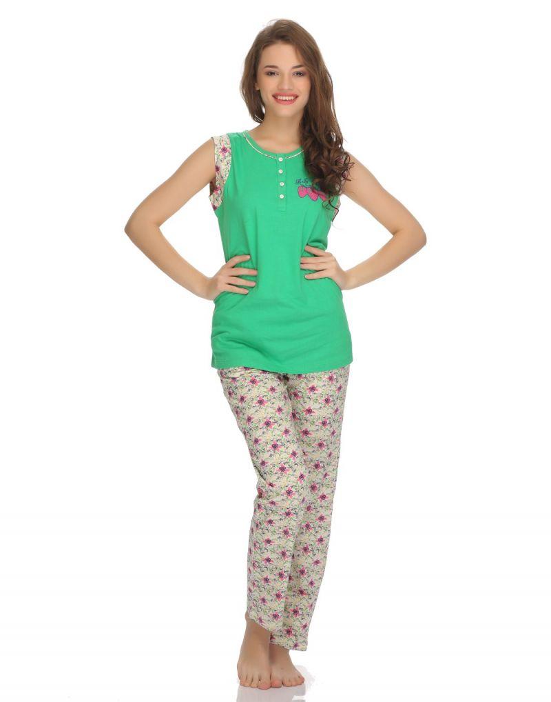 Buy Clovia Cotton T-shirt And Pyjama Set In Summer Green Ls0003p11 online