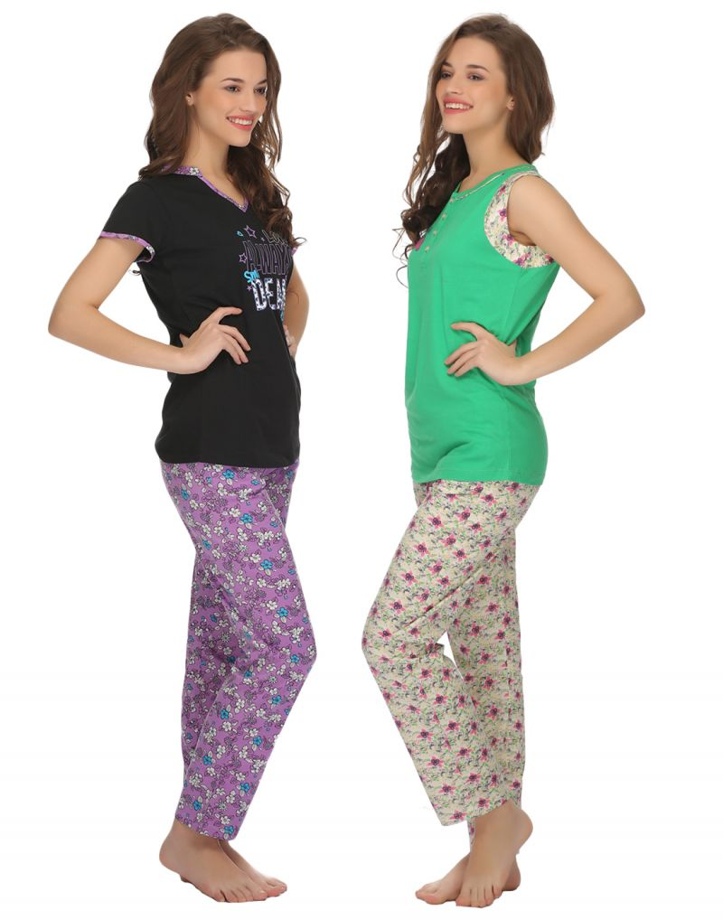 Buy Clovia Cotton T-shirt And Pyjama Set In Green & Purple -(product Code- Lsc003p90) online