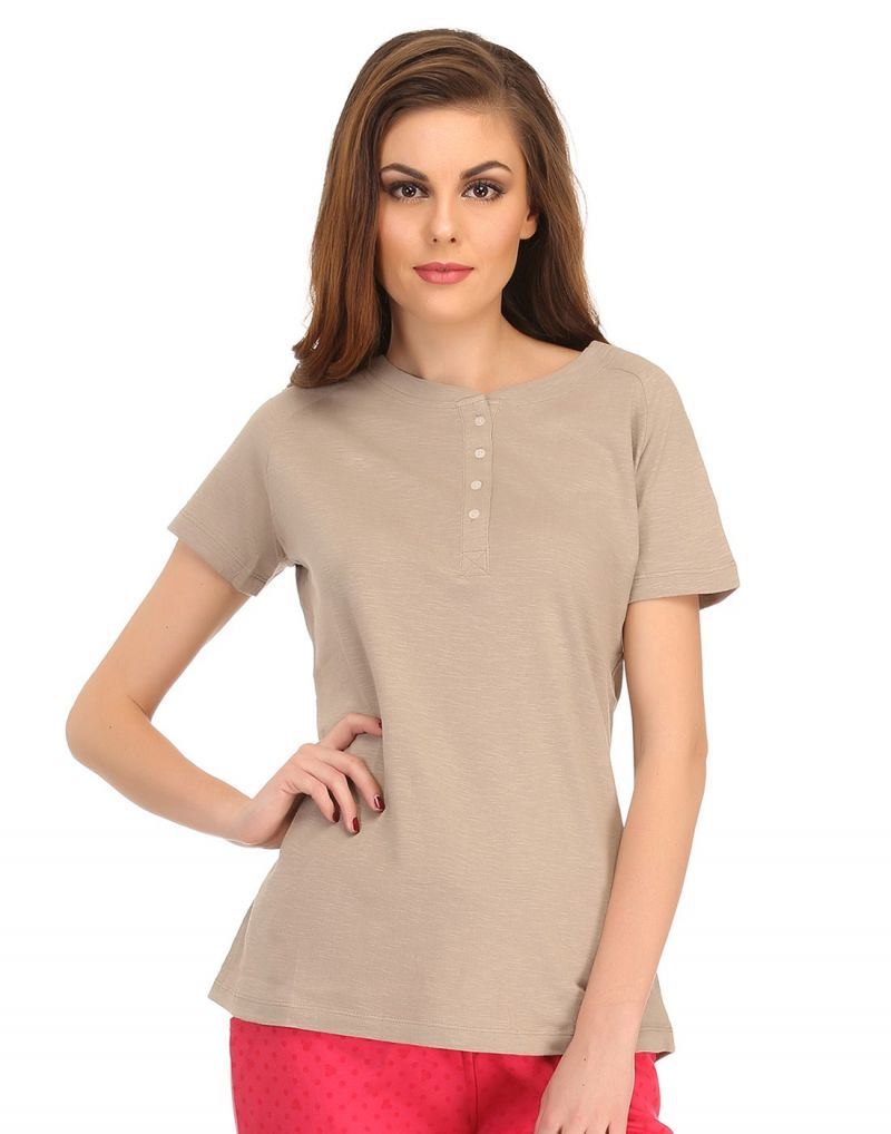 Buy Clovia Cotton Comfy T-shirt In Safari Lt0101p24 online