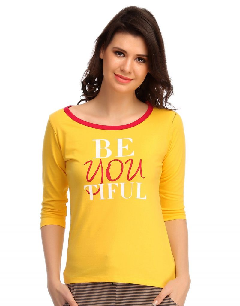 Buy Clovia Cotton Comfy T-shirt In Yellow Lt0105p02 online
