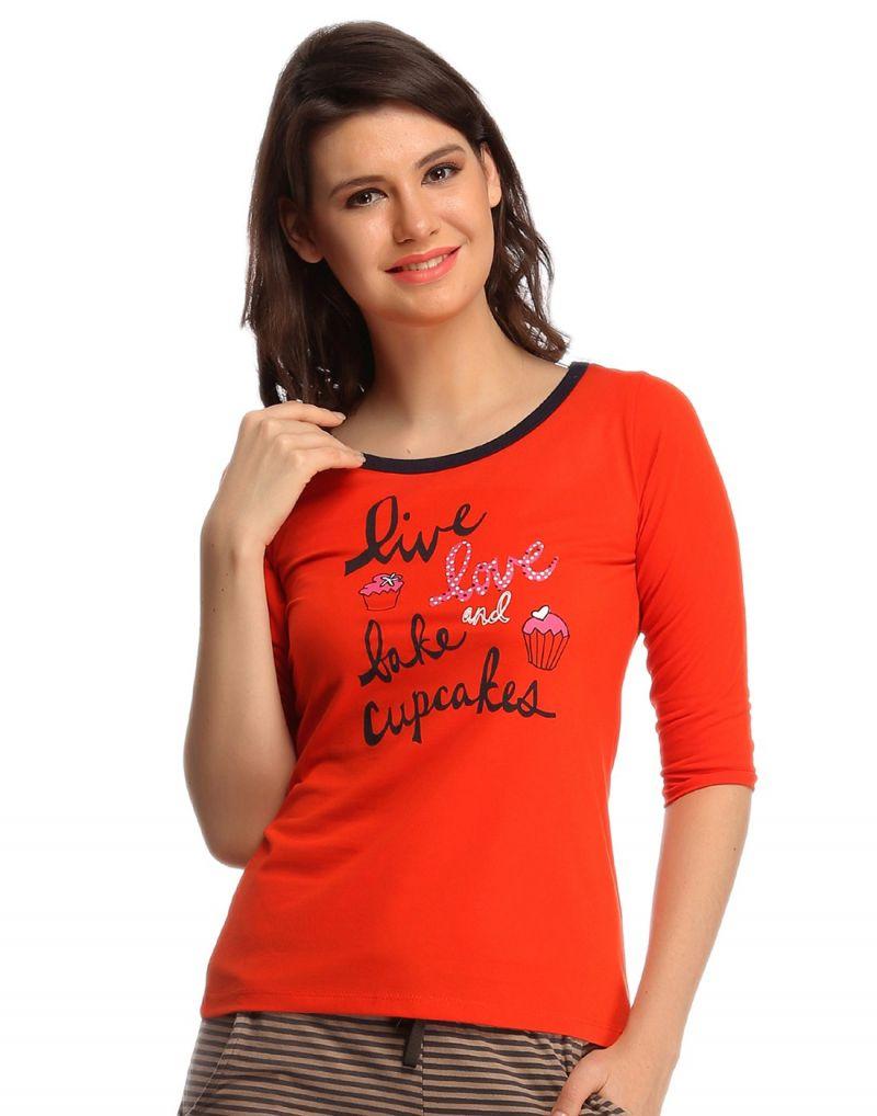 Buy Clovia Cotton Comfy T-shirt In Orange Lt0105p16 online