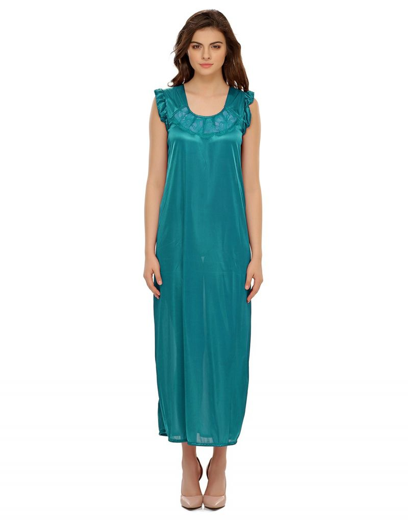 Buy Clovia Satin Nighty In Light Green Ns0282p17 online