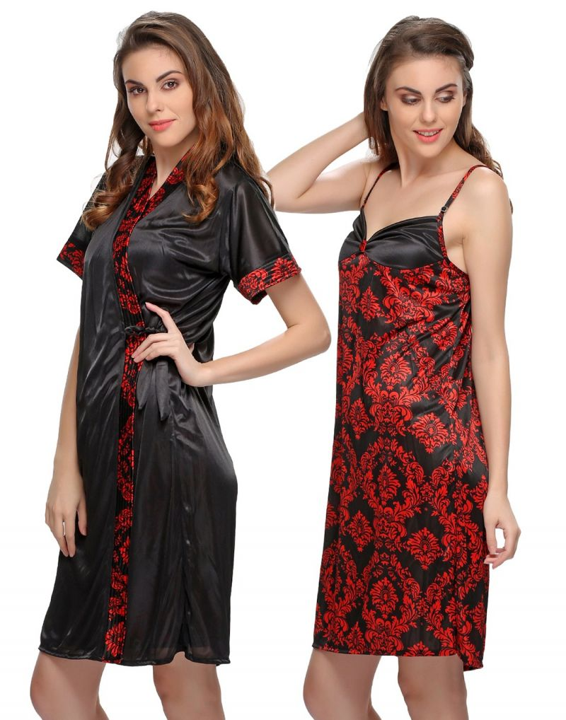 Buy Clovia Floral Printed 2 PCs Nighty And Robe In Black Ns0312p13 online