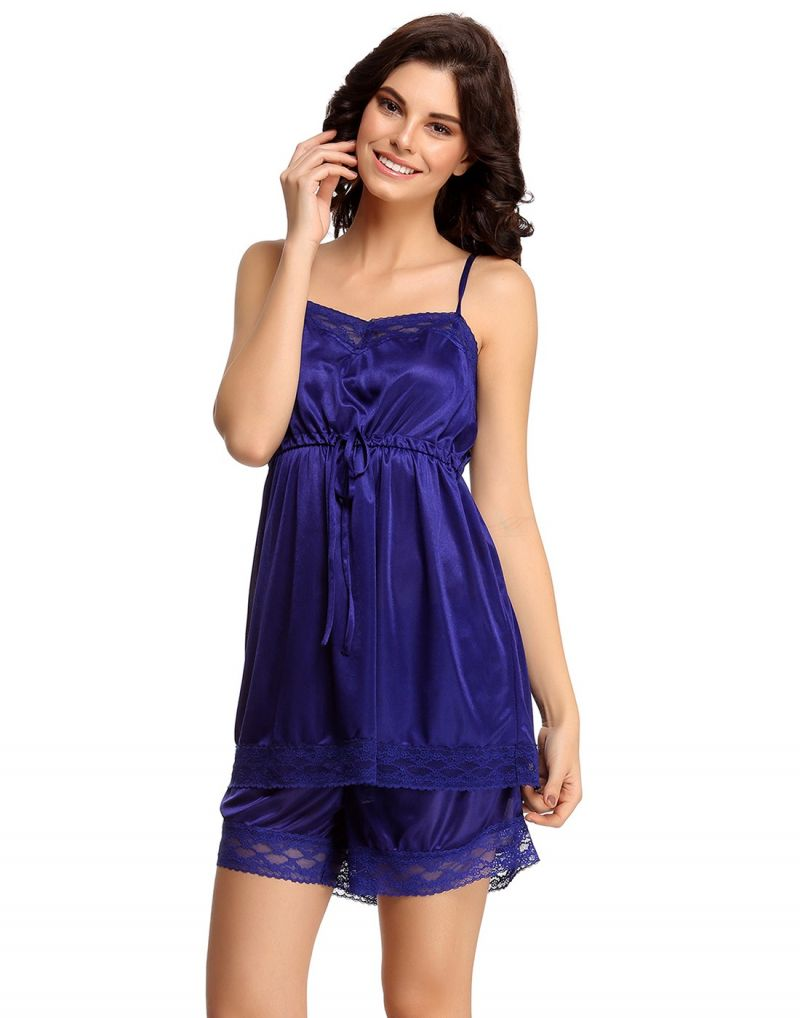 Buy Clovia Set Of Satin Cami And Shorts In Dark Blue Ns0316p08 online