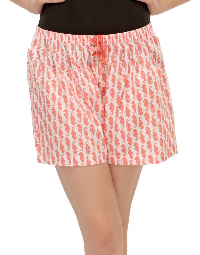 Buy Clovia Cotton Shorts In Seahorse Prints Ns0391p18 online