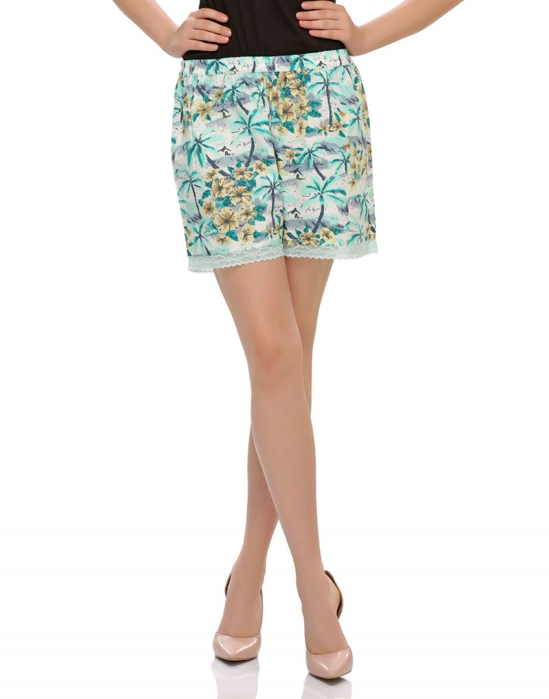 Buy Clovia Cotton Blend Funky Beachy Shorts With Cute Laces (product Code - Ns0412p11 ) online