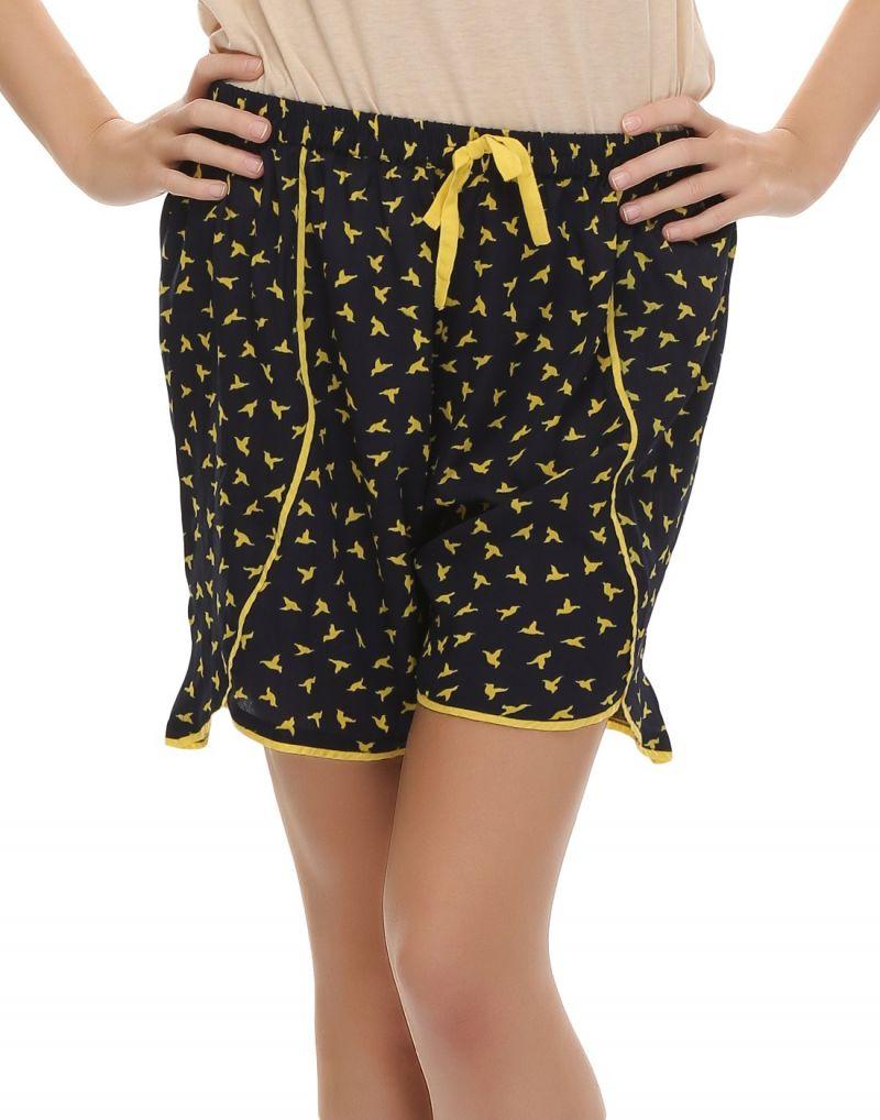 Buy Clovia Chic Printed Designer Shorts In Navy Blue Ns0416p08 online