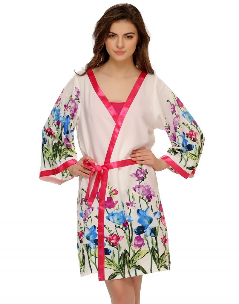 Buy Clovia Floral Printed Robe In White Ns0475p14 online