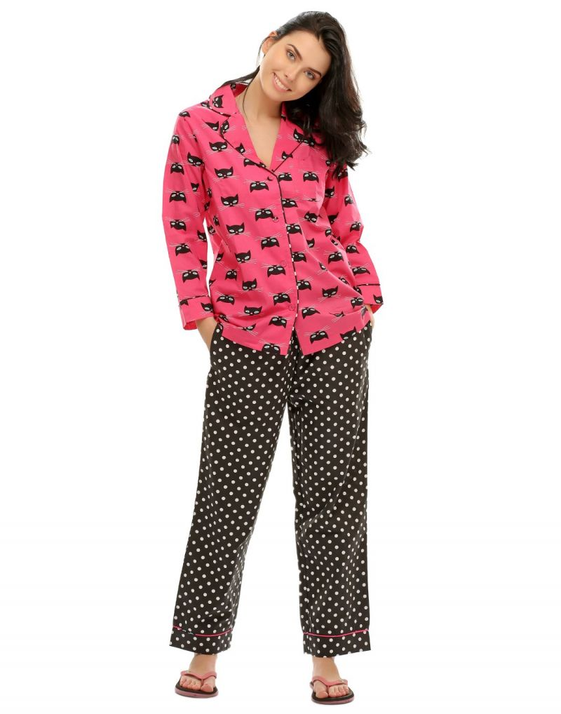 Buy Clovia Two Piece Night Suit In Cute Prints Ns0495p14 online