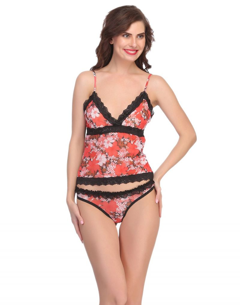 Buy Clovia Net Camisole & Panty Set In Orange online