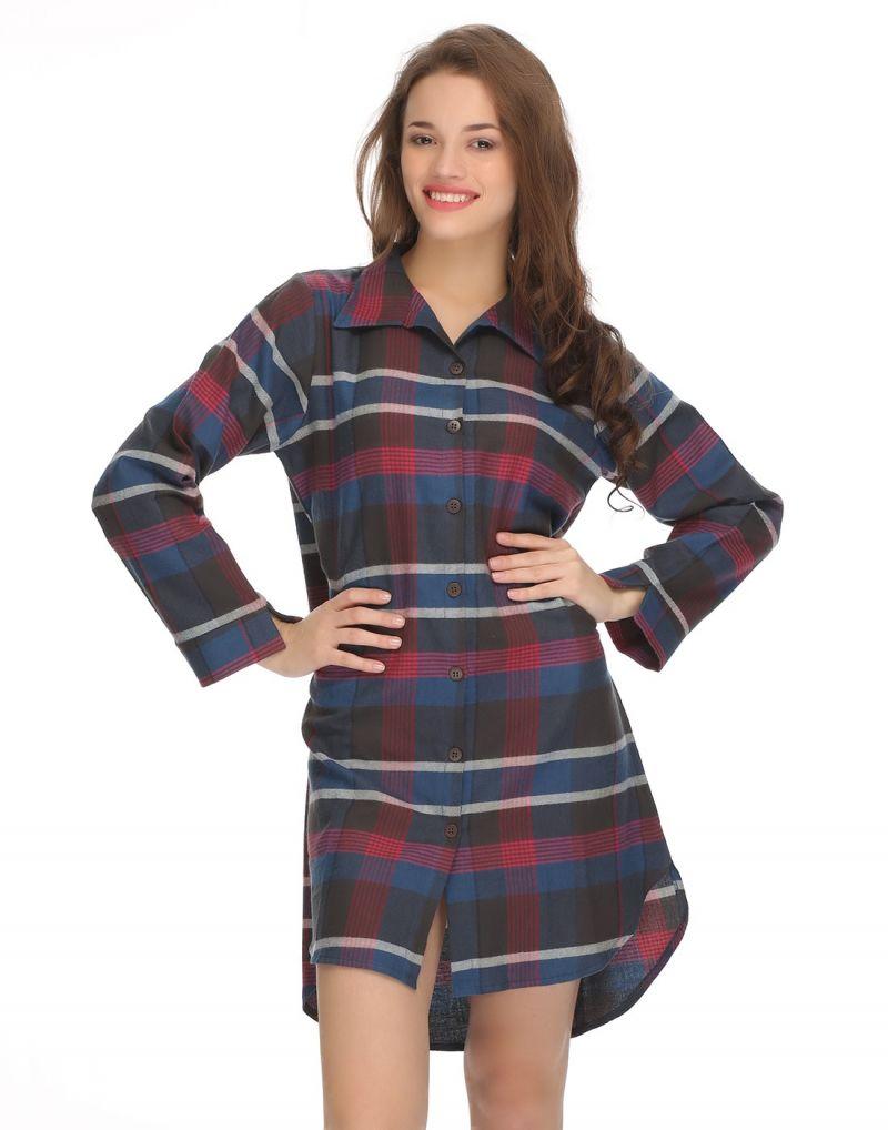 Buy Clovia Mid-length Night Shirt In Trendy Checks Ns0522p08 online