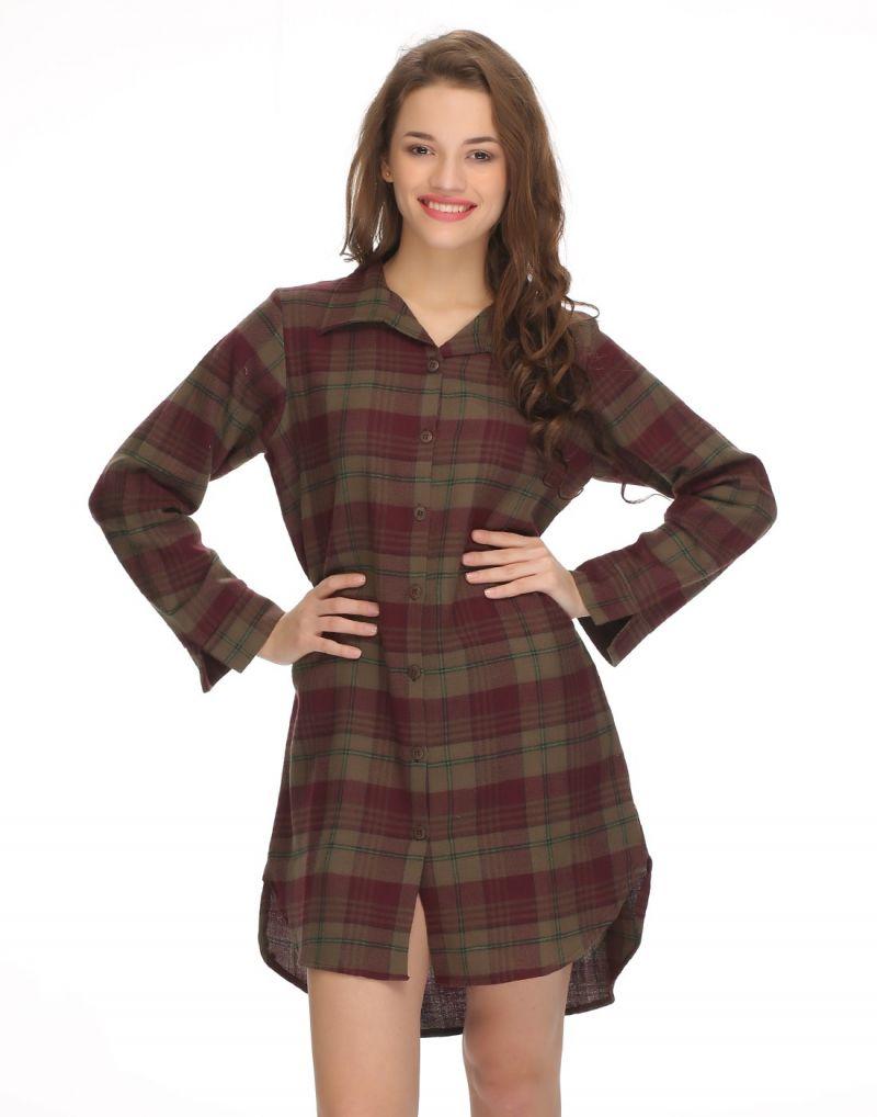 Buy Clovia Mid-length Night Shirt In Trendy Checks Ns0522p17 online