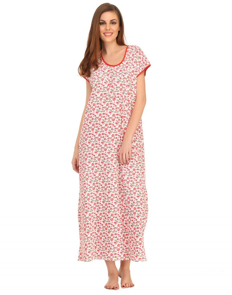 Buy Clovia Cotton Comfy Full Length Dress In Red online