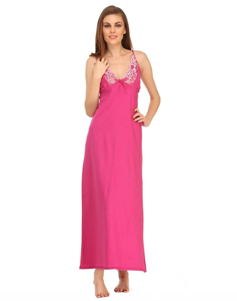 Buy Clovia Hot Pink Cute Knitted Nightdress Ns0558p14 online