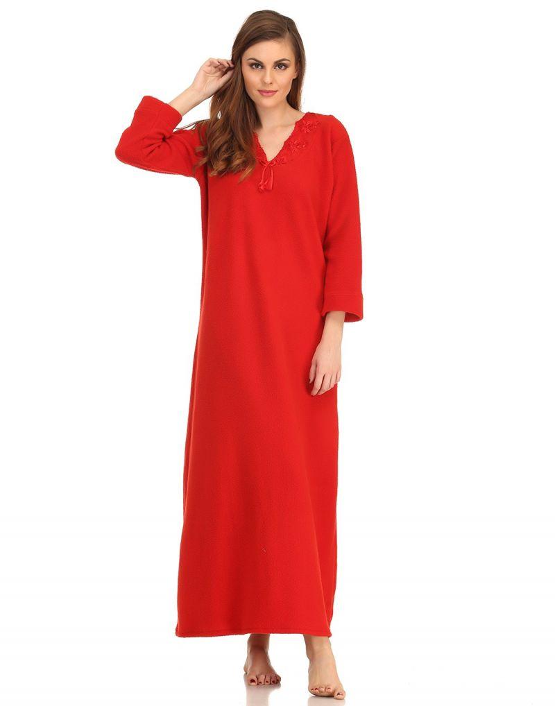 Buy Clovia Winter Long Nighty In Red Ns0570p04- Free Size online