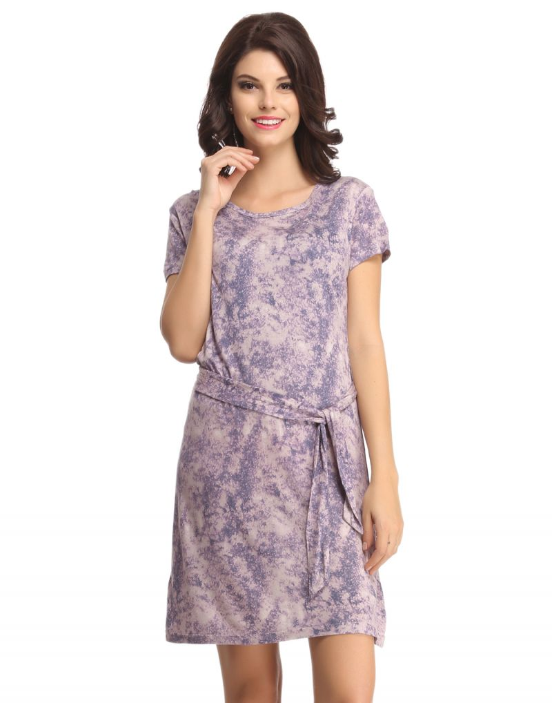 Buy Clovia Lavender Short Nightie With Belted Waist -(product Code-ns0575p12) online