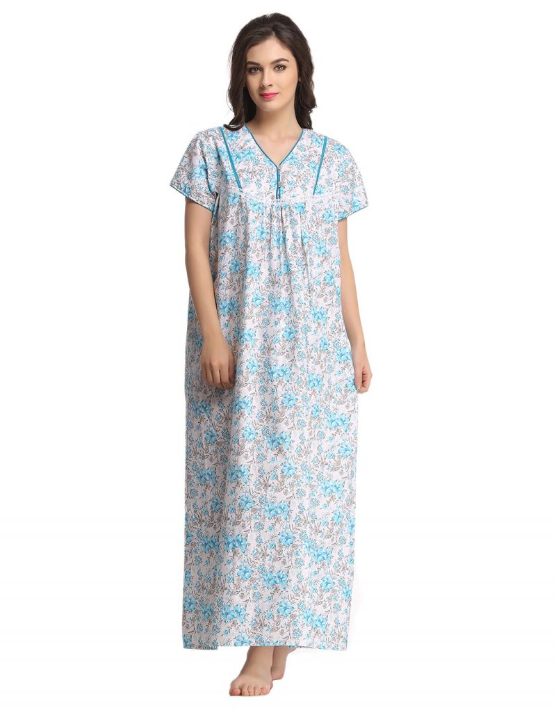 Buy Clovia Floral Printed Soft Long Nighty Ns0591p03- Free Size online
